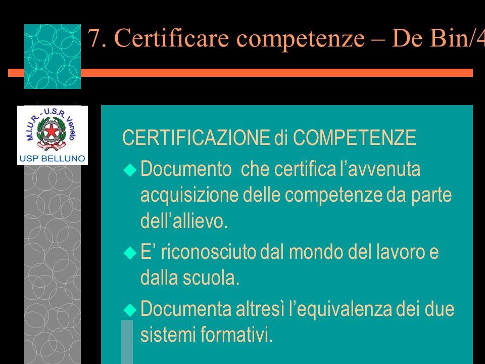 7. Certificare competenze – De Bin/4 CERTIFICAZIONE di COMPETENZE u Documento che certifica lavvenuta acquisizione delle competenze da parte dellallie