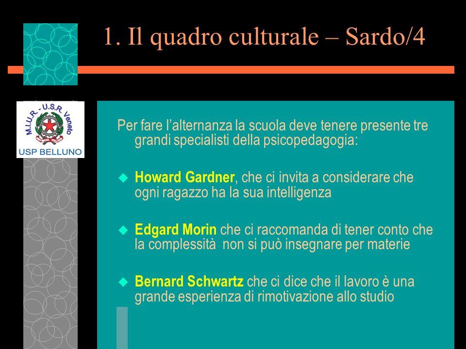 1. Il quadro culturale – Sardo/4 Per fare lalternanza la scuola deve tenere presente tre grandi specialisti della psicopedagogia: u Howard Gardner, ch