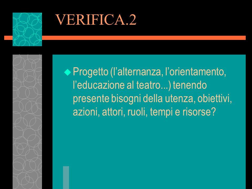 VERIFICA.2 u Progetto (lalternanza, lorientamento, leducazione al teatro...) tenendo presente bisogni della utenza, obiettivi, azioni, attori, ruoli,