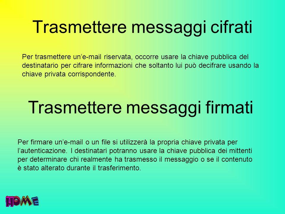 Trasmettere messaggi cifrati Per trasmettere une-mail riservata, occorre usare la chiave pubblica del destinatario per cifrare informazioni che soltan