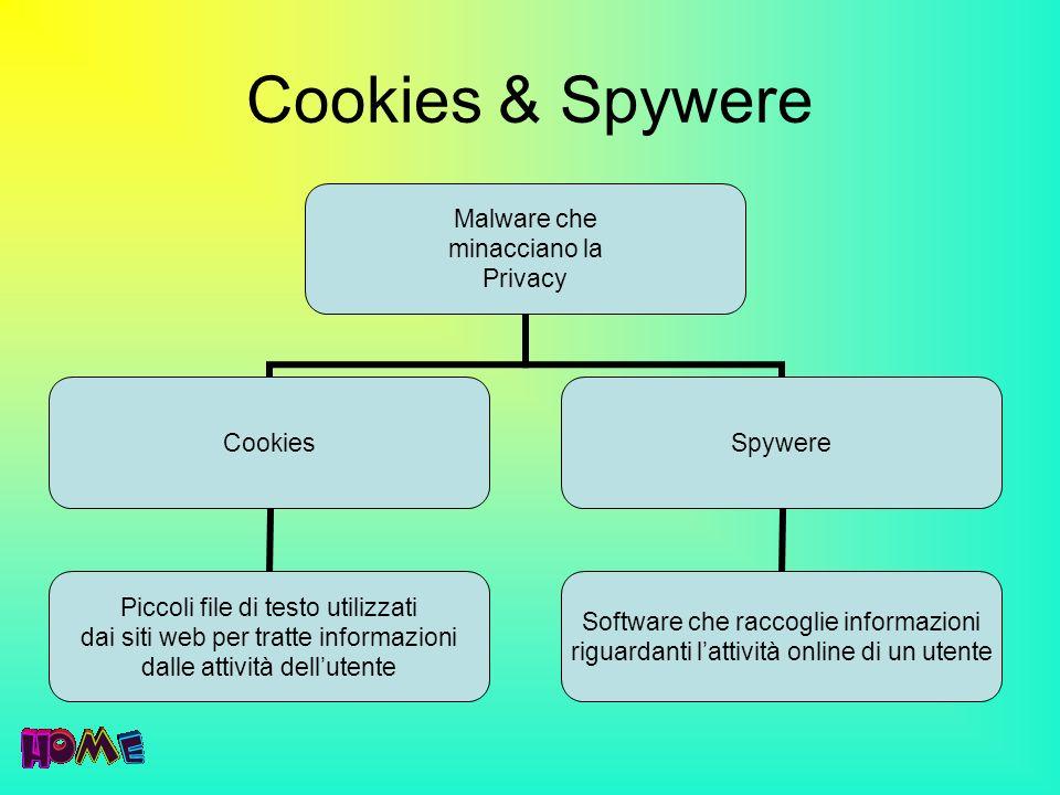 Cookies & Spywere Malware che minacciano la Privacy Cookies Piccoli file di testo utilizzati dai siti web per tratte informazioni dalle attività dellu