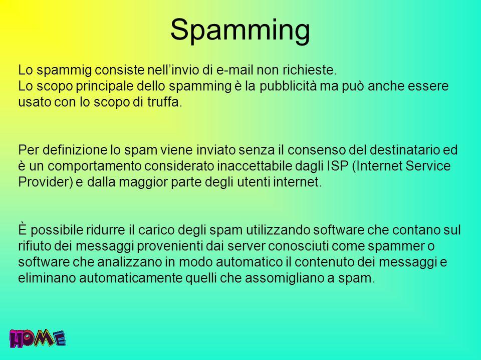 Spamming Lo spammig consiste nellinvio di e-mail non richieste. Lo scopo principale dello spamming è la pubblicità ma può anche essere usato con lo sc