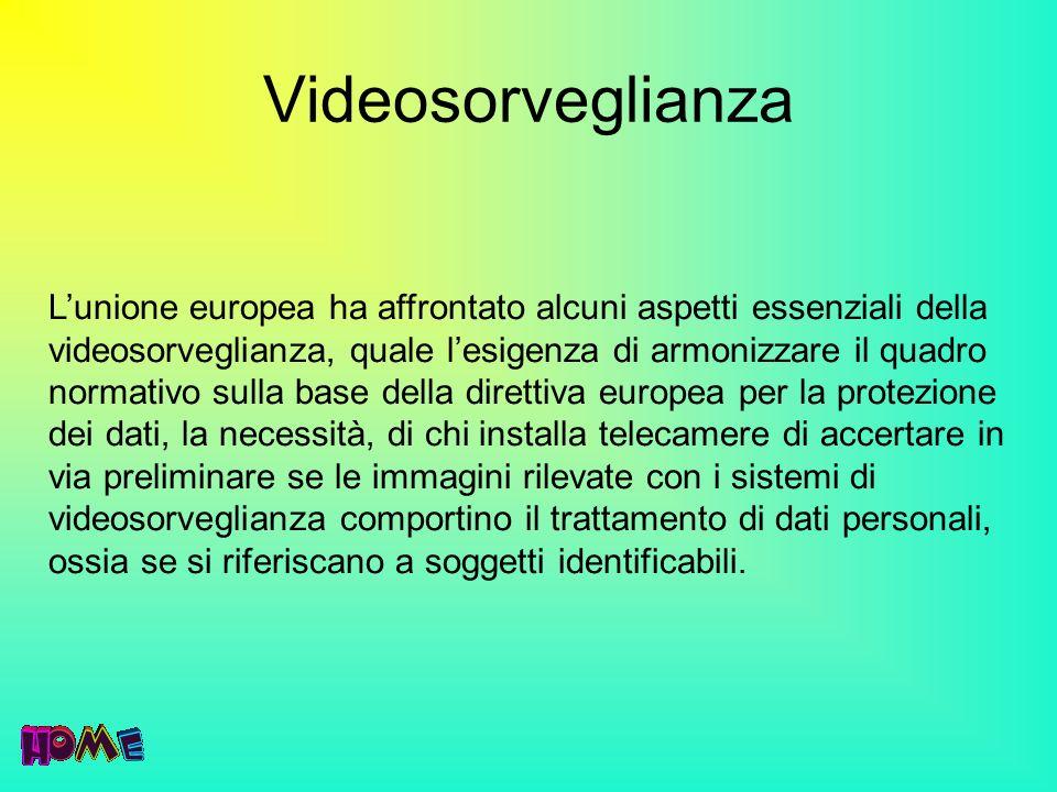 Videosorveglianza Lunione europea ha affrontato alcuni aspetti essenziali della videosorveglianza, quale lesigenza di armonizzare il quadro normativo