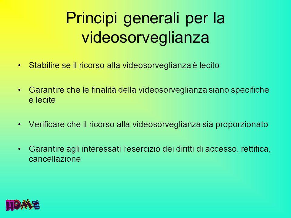 Principi generali per la videosorveglianza Stabilire se il ricorso alla videosorveglianza è lecito Garantire che le finalità della videosorveglianza s