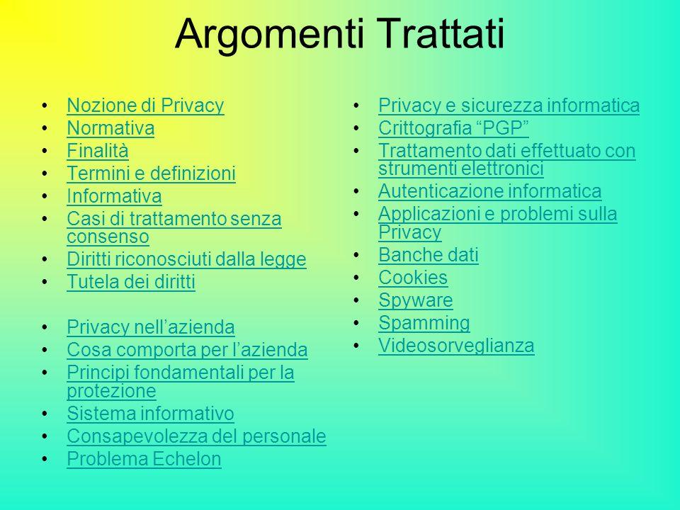 Argomenti Trattati Nozione di Privacy Normativa Finalità Termini e definizioni Informativa Casi di trattamento senza consensoCasi di trattamento senza