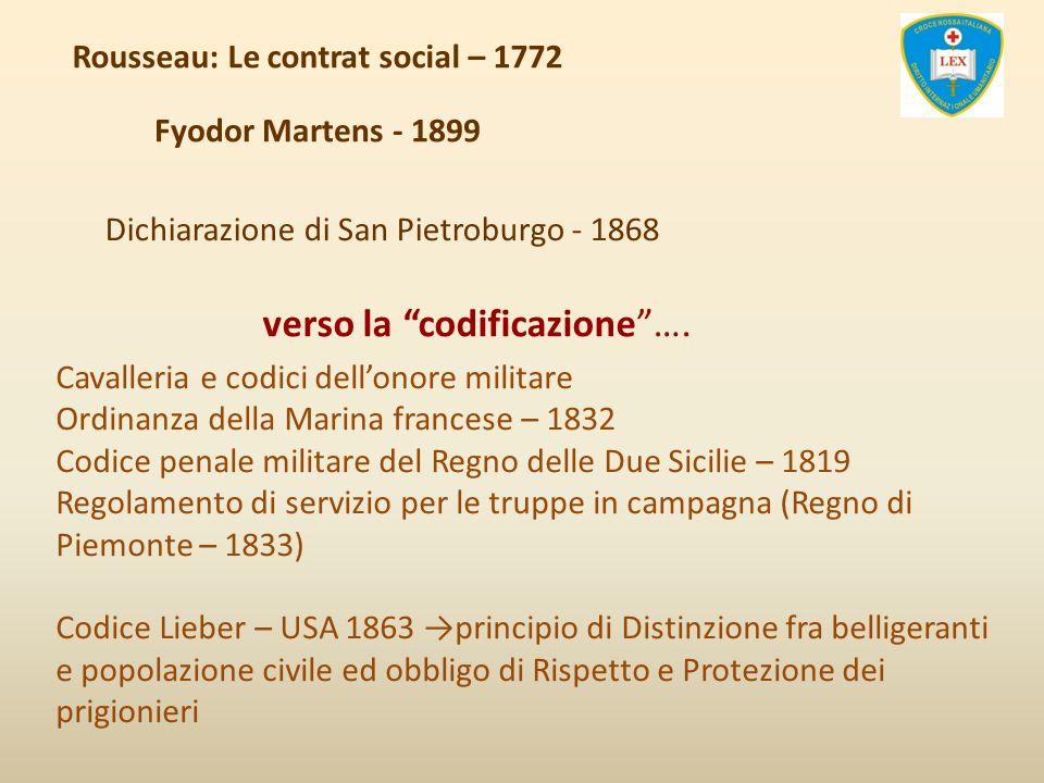Rousseau: Le contrat social – 1772 Fyodor Martens - 1899 Dichiarazione di San Pietroburgo - 1868 verso la codificazione…. Cavalleria e codici dellonor