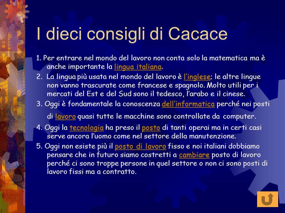 I dieci consigli di Cacace 1. Per entrare nel mondo del lavoro non conta solo la matematica ma è anche importante la lingua italiana.lingua italiana 2