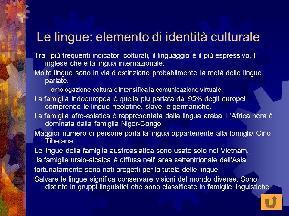 Le lingue: elemento di identità culturale Tra i più frequenti indicatori colturali, il linguaggio è il più espressivo, l inglese che è la lingua inter