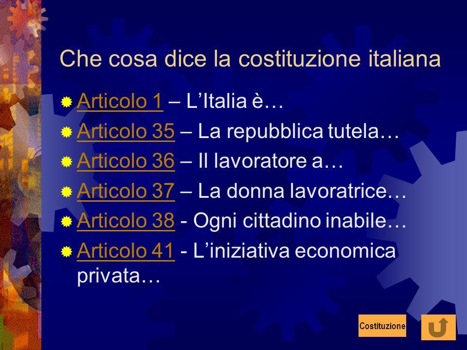 Che cosa dice la costituzione italiana Articolo 1 – LItalia è… Articolo 1 Articolo 35 – La repubblica tutela… Articolo 35 Articolo 36 – Il lavoratore