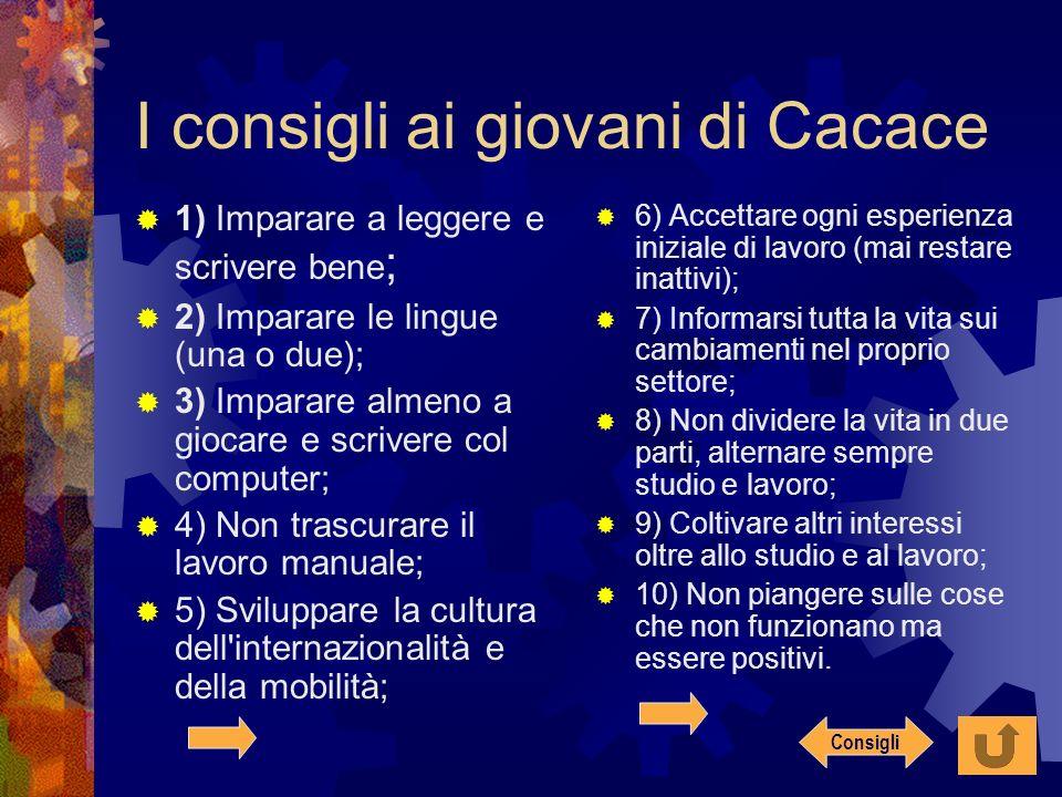 I consigli ai giovani di Cacace 1) Imparare a leggere e scrivere bene ; 2) Imparare le lingue (una o due); 3) Imparare almeno a giocare e scrivere col