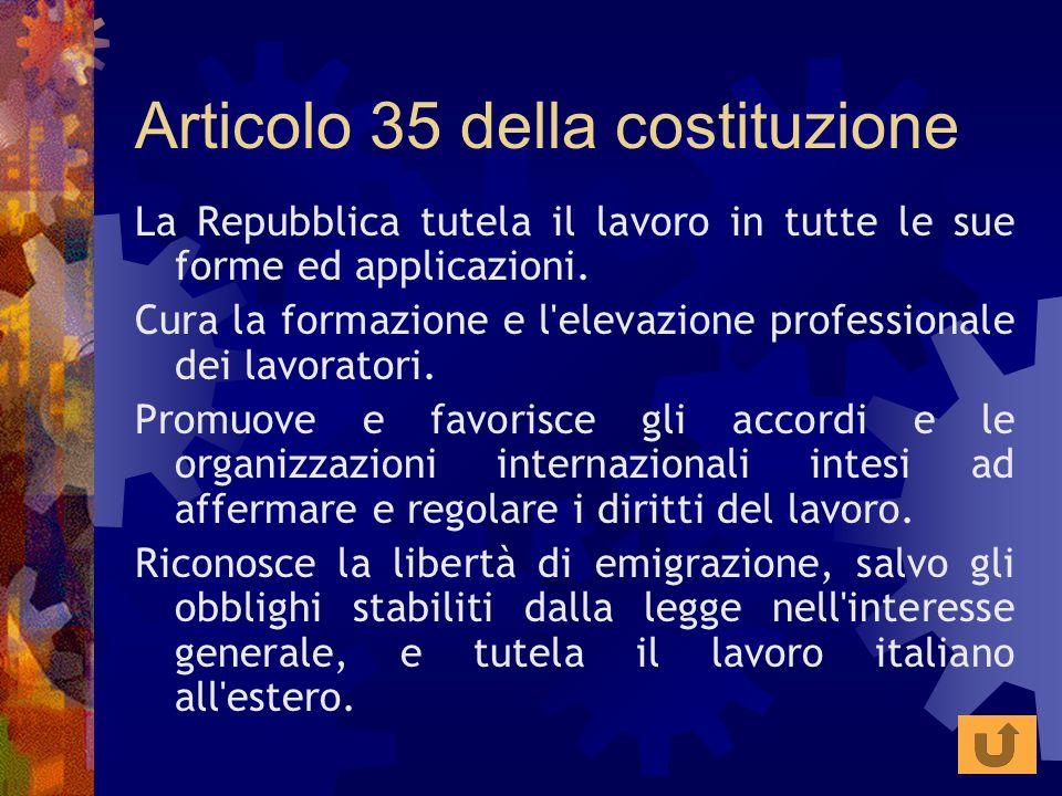 Articolo 35 della costituzione La Repubblica tutela il lavoro in tutte le sue forme ed applicazioni. Cura la formazione e l'elevazione professionale d