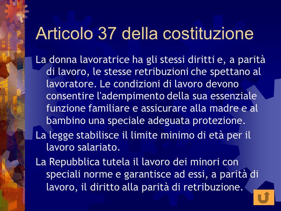Articolo 37 della costituzione La donna lavoratrice ha gli stessi diritti e, a parità di lavoro, le stesse retribuzioni che spettano al lavoratore. Le