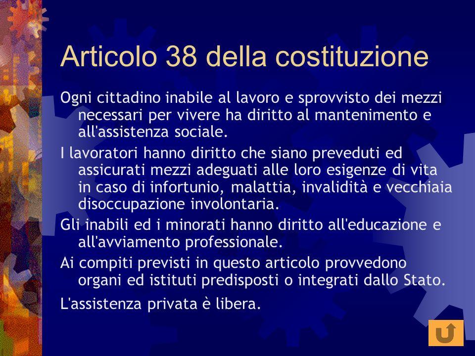 Articolo 38 della costituzione Ogni cittadino inabile al lavoro e sprovvisto dei mezzi necessari per vivere ha diritto al mantenimento e all'assistenz