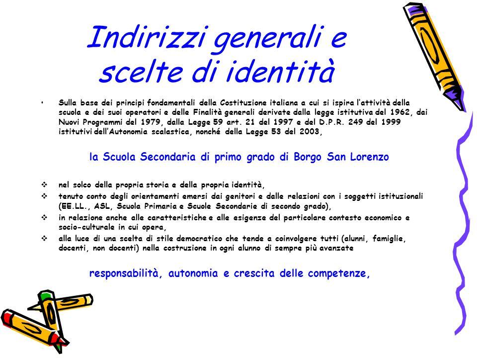 Indirizzi generali e scelte di identità Sulla base dei principi fondamentali della Costituzione italiana a cui si ispira lattività della scuola e dei
