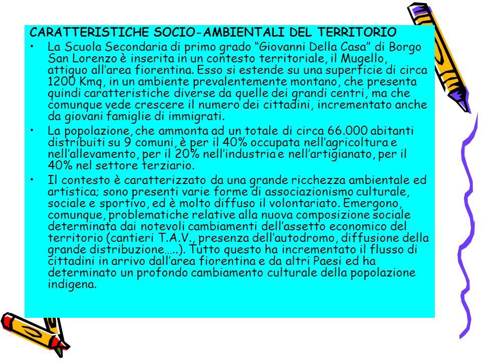CARATTERISTICHE SOCIO-AMBIENTALI DEL TERRITORIO La Scuola Secondaria di primo grado Giovanni Della Casa di Borgo San Lorenzo è inserita in un contesto