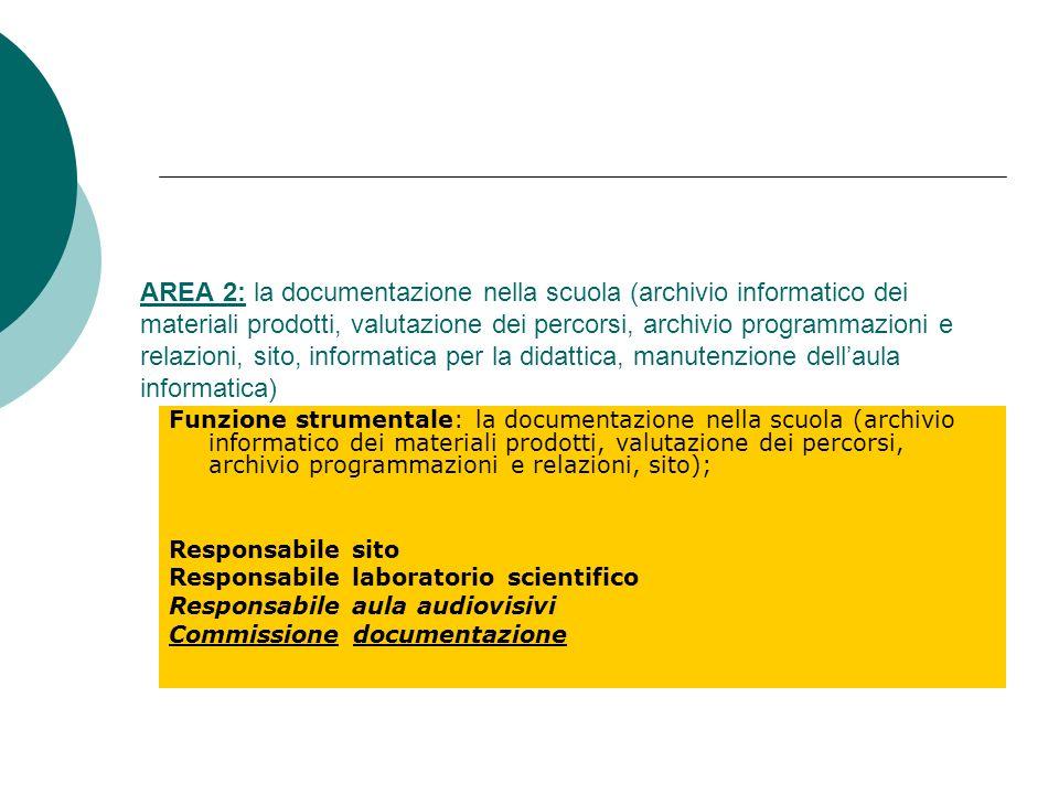 AREA 2: la documentazione nella scuola (archivio informatico dei materiali prodotti, valutazione dei percorsi, archivio programmazioni e relazioni, si