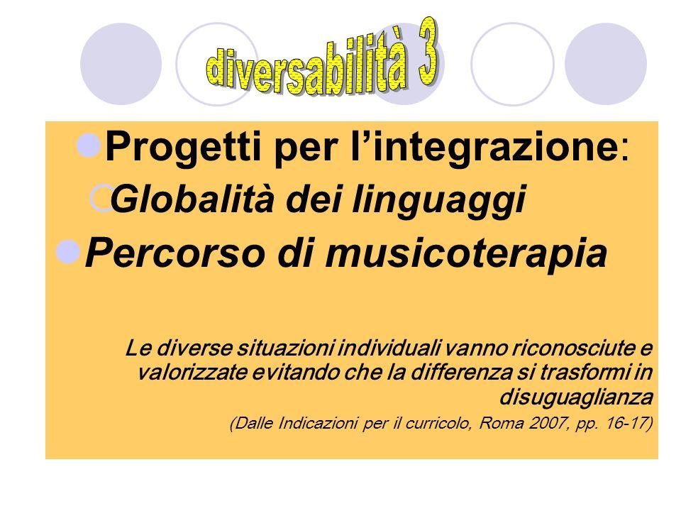 Progetti per lintegrazione: Globalità dei linguaggi Percorso di musicoterapia Le diverse situazioni individuali vanno riconosciute e valorizzate evita