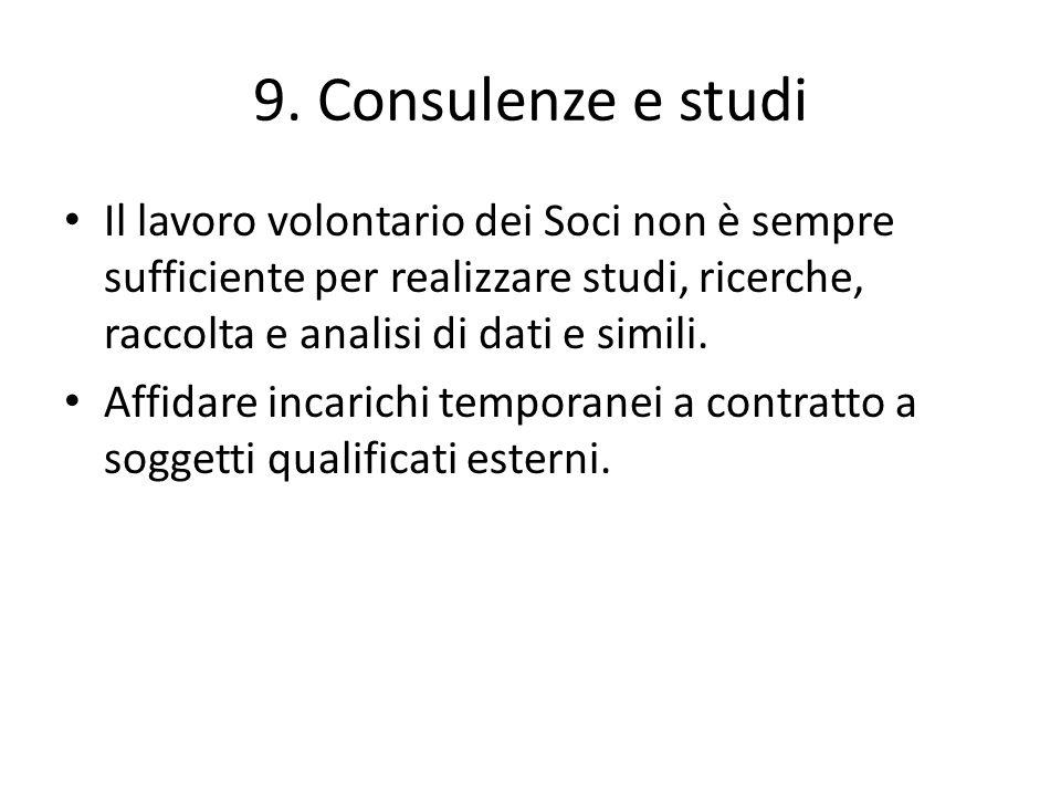 9. Consulenze e studi Il lavoro volontario dei Soci non è sempre sufficiente per realizzare studi, ricerche, raccolta e analisi di dati e simili. Affi