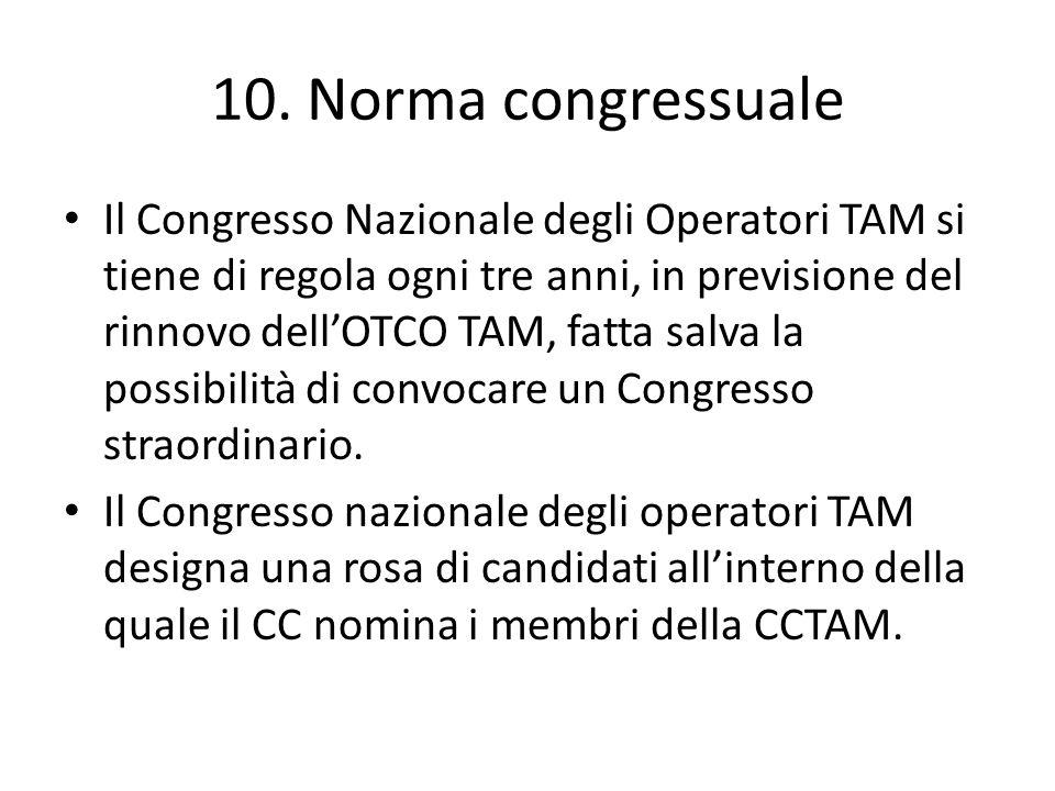 10. Norma congressuale Il Congresso Nazionale degli Operatori TAM si tiene di regola ogni tre anni, in previsione del rinnovo dellOTCO TAM, fatta salv