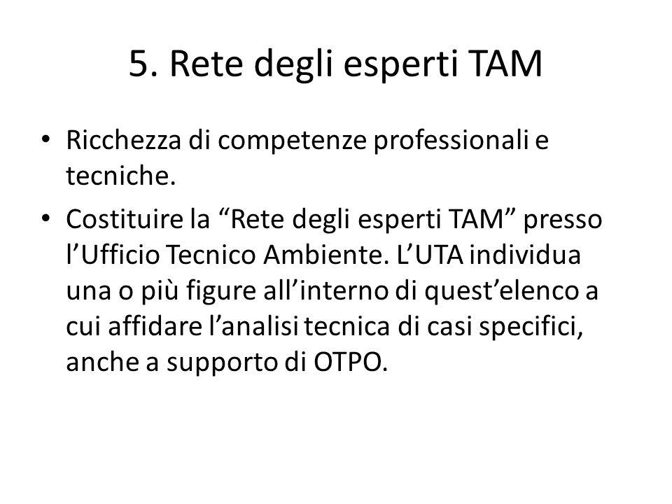5. Rete degli esperti TAM Ricchezza di competenze professionali e tecniche.
