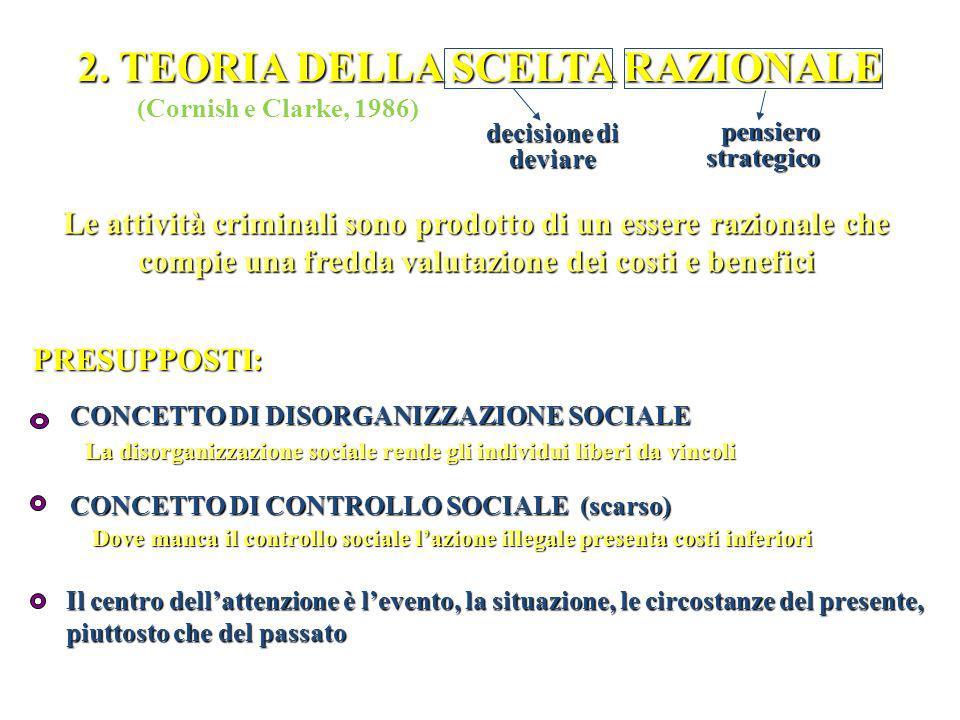 TEORIA DELLA SCELTA RAZIONALE TEORIA DELLA SCELTA RAZIONALE Processo di formazione della devianza: DEVIANTE 1.