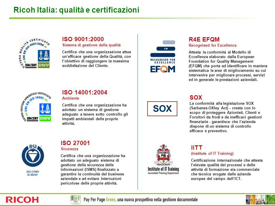 Ricoh Italia: qualità e certificazioni ISO 9001:2000 Sistema di gestione della qualità Certifica che una organizzazione attua unefficace gestione dell
