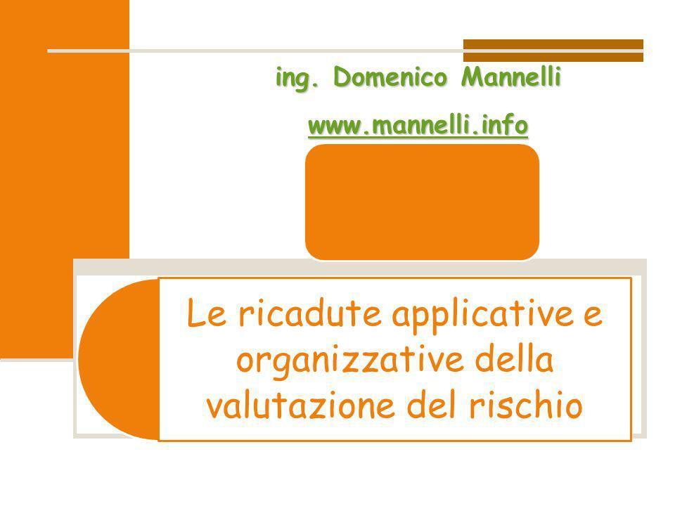 Le ricadute applicative e organizzative della valutazione del rischioing. Domenico Mannelli wwww wwww wwww.... mmmm aaaa nnnn nnnn eeee llll llll iiii