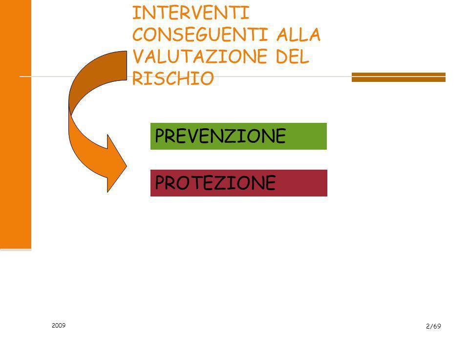 2009 2/69 INTERVENTI CONSEGUENTI ALLA VALUTAZIONE DEL RISCHIO PREVENZIONE PROTEZIONE