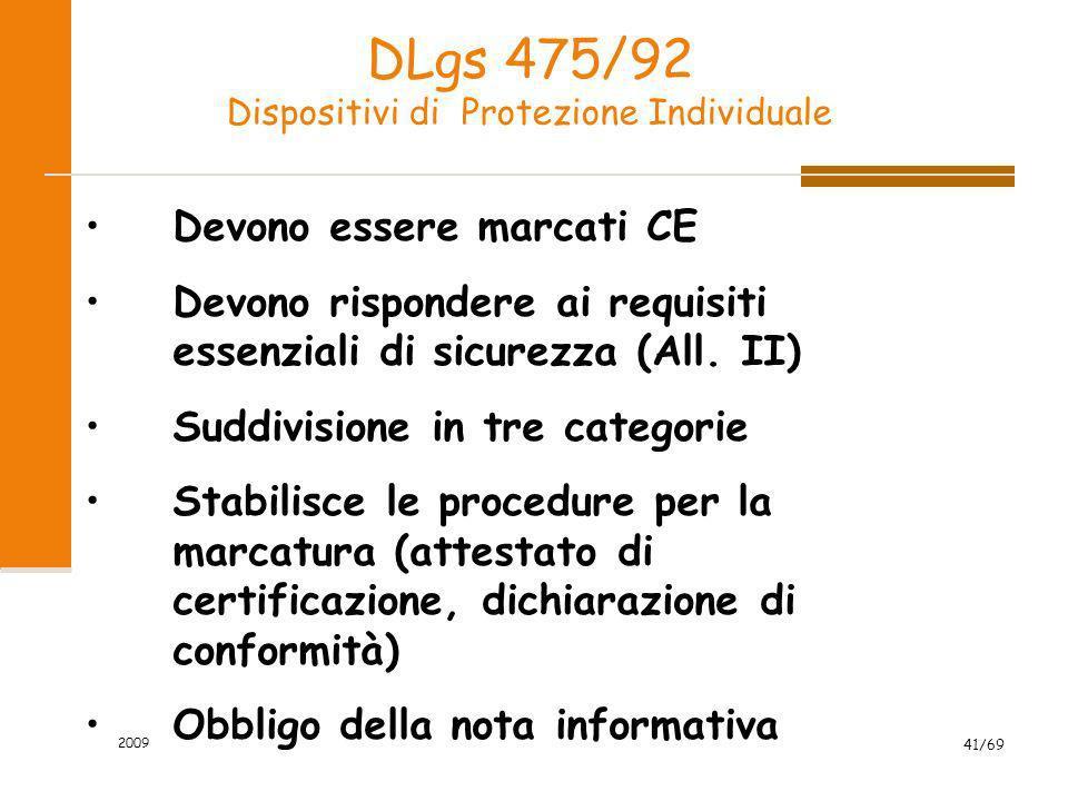 2009 41/69 DLgs 475/92 Dispositivi di Protezione Individuale Devono essere marcati CE Devono rispondere ai requisiti essenziali di sicurezza (All. II)