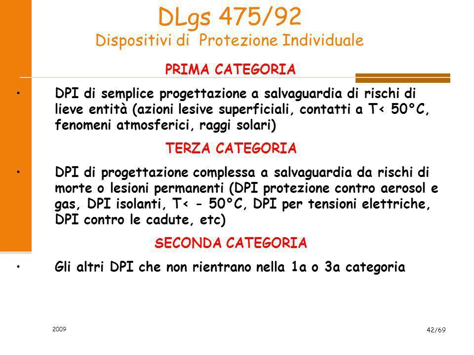 2009 42/69 DLgs 475/92 Dispositivi di Protezione Individuale PRIMA CATEGORIA DPI di semplice progettazione a salvaguardia di rischi di lieve entità (a