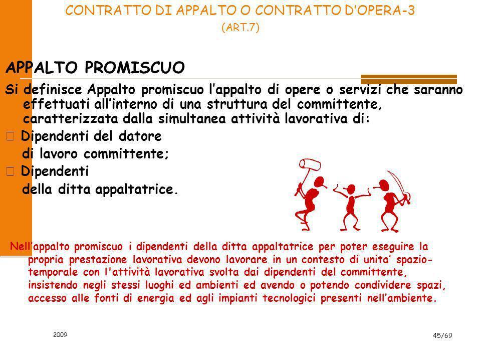 2009 45/69 APPALTO PROMISCUO Nellappalto promiscuo i dipendenti della ditta appaltatrice per poter eseguire la propria prestazione lavorativa devono l