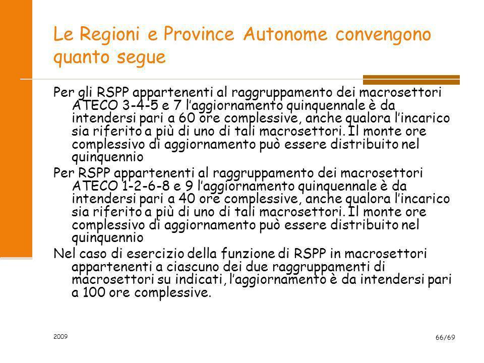 2009 66/69 Le Regioni e Province Autonome convengono quanto segue Per gli RSPP appartenenti al raggruppamento dei macrosettori ATECO 3-4-5 e 7 laggior