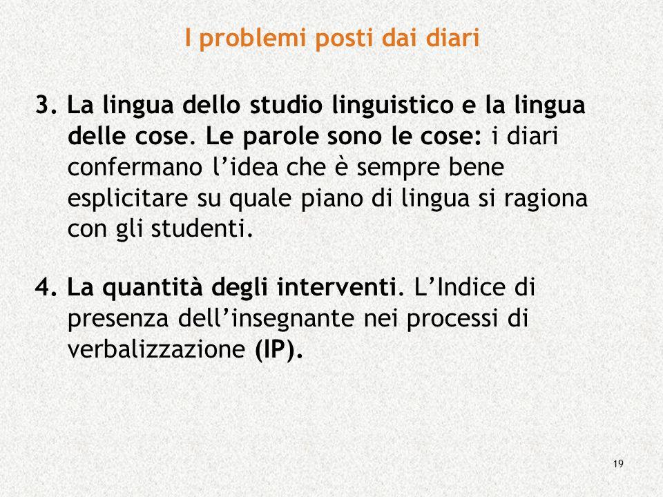 19 3. La lingua dello studio linguistico e la lingua delle cose. Le parole sono le cose: i diari confermano lidea che è sempre bene esplicitare su qua