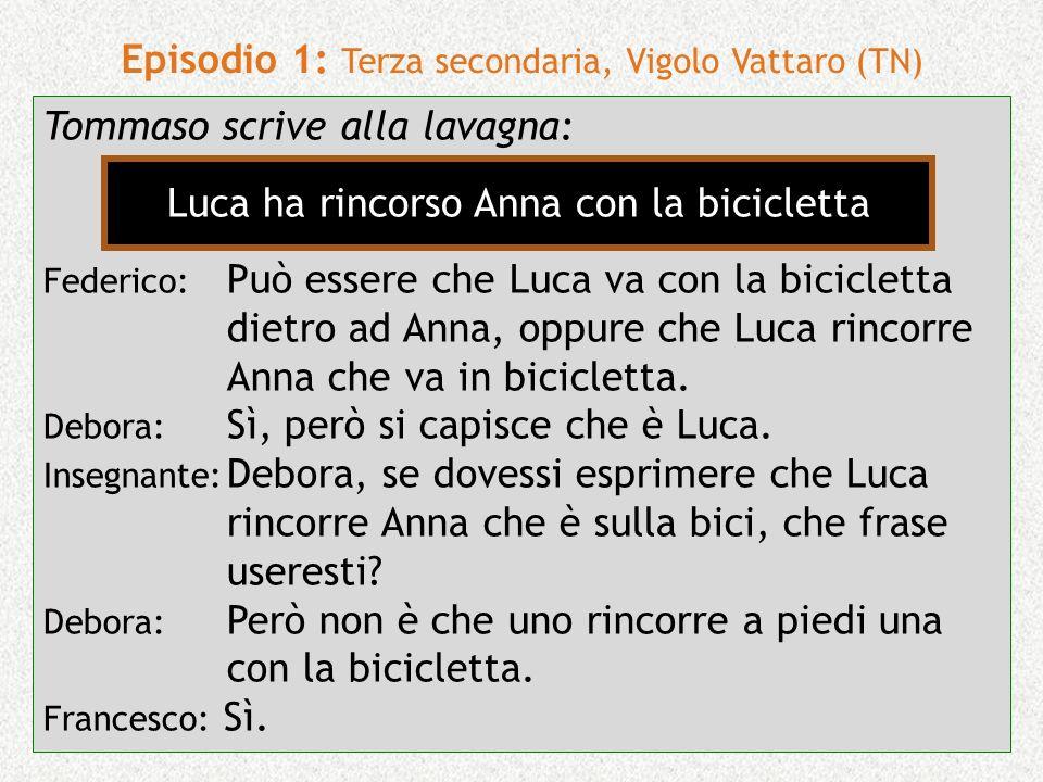 21 Episodio 1: Terza secondaria, Vigolo Vattaro (TN) Tommaso scrive alla lavagna: Federico: Può essere che Luca va con la bicicletta dietro ad Anna, o