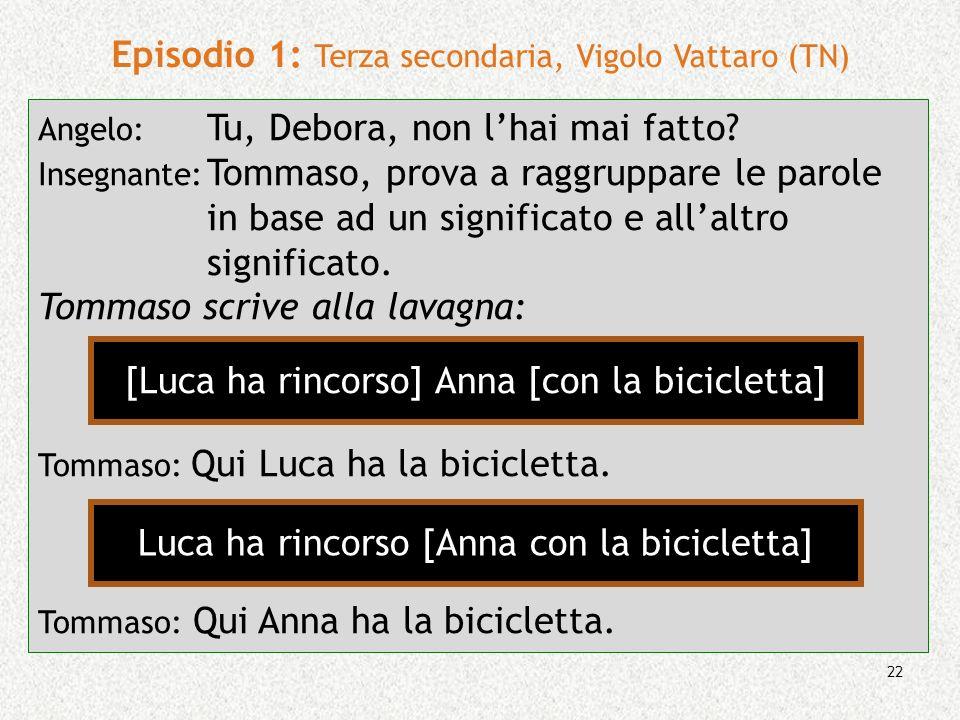 22 Episodio 1: Terza secondaria, Vigolo Vattaro (TN) Angelo: Tu, Debora, non lhai mai fatto? Insegnante: Tommaso, prova a raggruppare le parole in bas