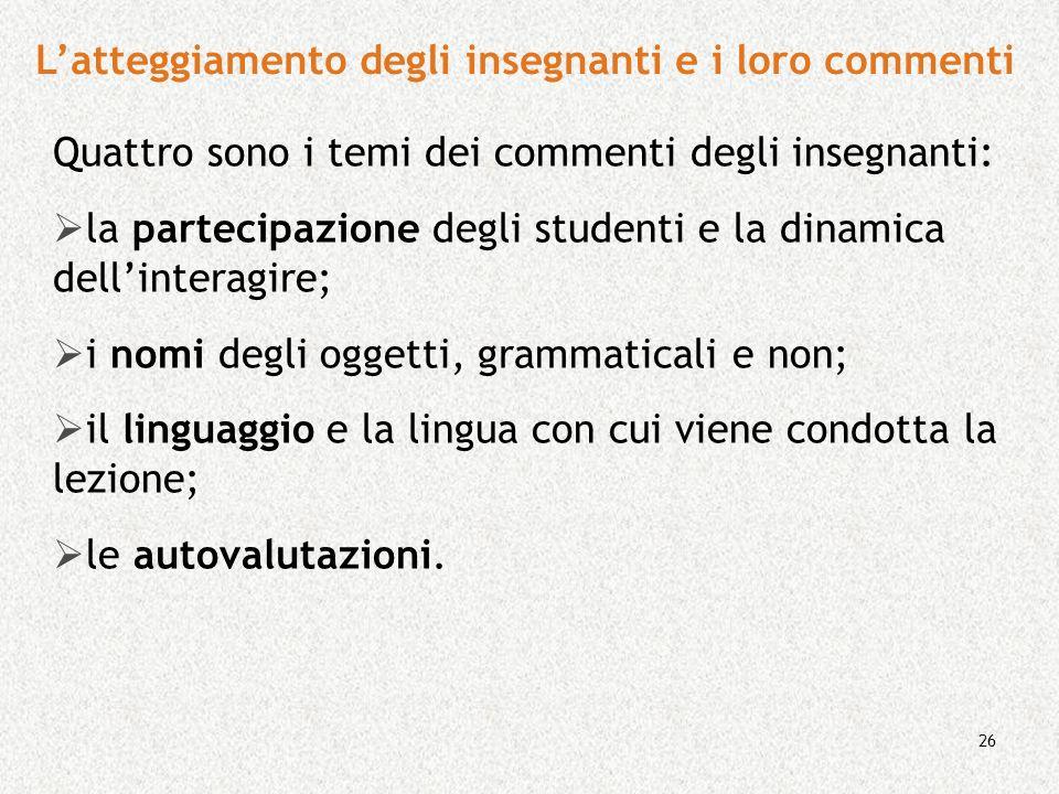 26 Quattro sono i temi dei commenti degli insegnanti: la partecipazione degli studenti e la dinamica dellinteragire; i nomi degli oggetti, grammatical
