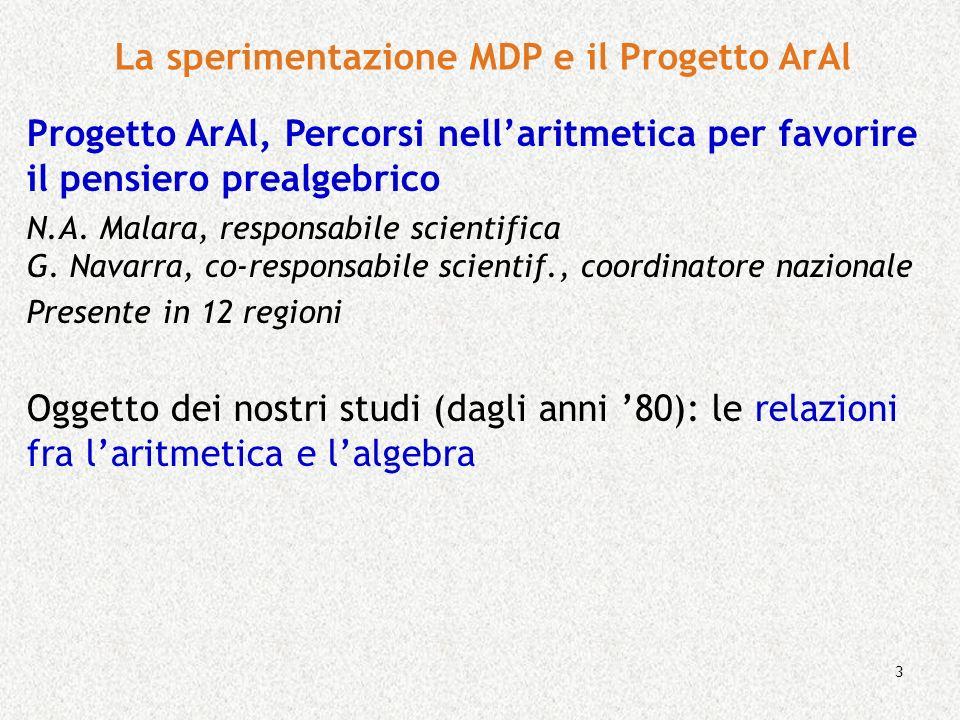 3 La sperimentazione MDP e il Progetto ArAl Progetto ArAl, Percorsi nellaritmetica per favorire il pensiero prealgebrico N.A. Malara, responsabile sci