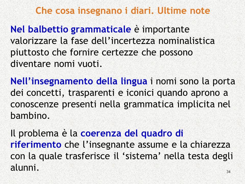 34 Nel balbettio grammaticale è importante valorizzare la fase dellincertezza nominalistica piuttosto che fornire certezze che possono diventare nomi