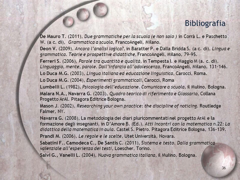 Bibliografia De Mauro T. (2011), Due grammatiche per la scuola (e non solo ) in Corrà L. e Paschetto W. (a c. di), Grammatica a scuola, FrancoAngeli,