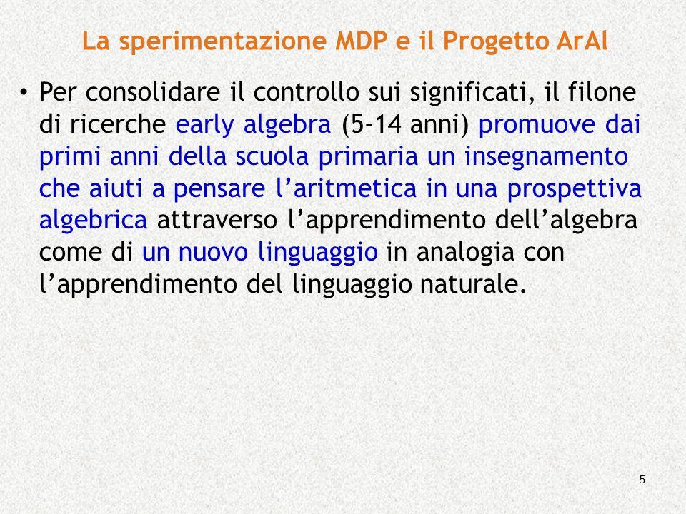 5 La sperimentazione MDP e il Progetto ArAl Per consolidare il controllo sui significati, il filone di ricerche early algebra (5-14 anni) promuove dai