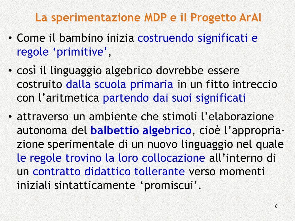 6 La sperimentazione MDP e il Progetto ArAl Come il bambino inizia costruendo significati e regole primitive, così il linguaggio algebrico dovrebbe es