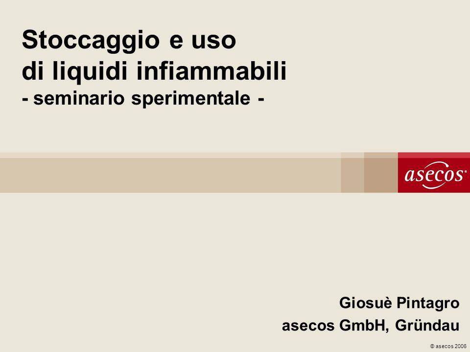 © asecos 2006 Stoccaggio e uso di liquidi infiammabili - seminario sperimentale - Giosuè Pintagro asecos GmbH, Gründau