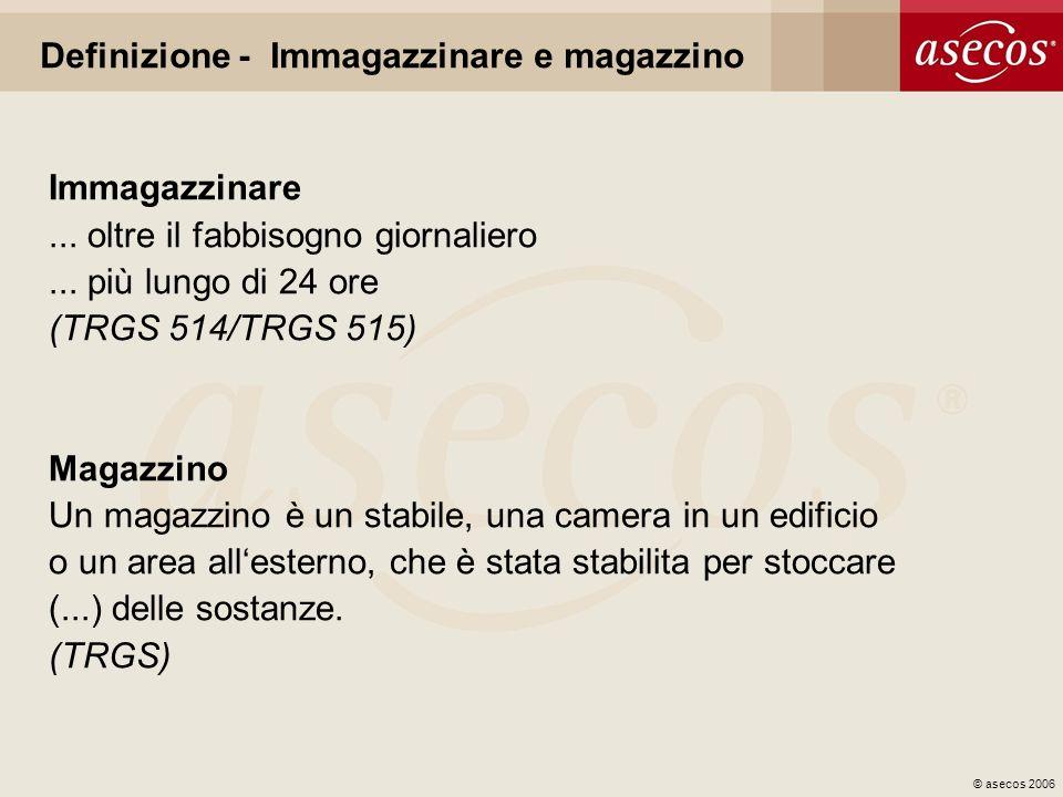 © asecos 2006 Definizione - Immagazzinare e magazzino Immagazzinare... oltre il fabbisogno giornaliero... più lungo di 24 ore (TRGS 514/TRGS 515) Maga