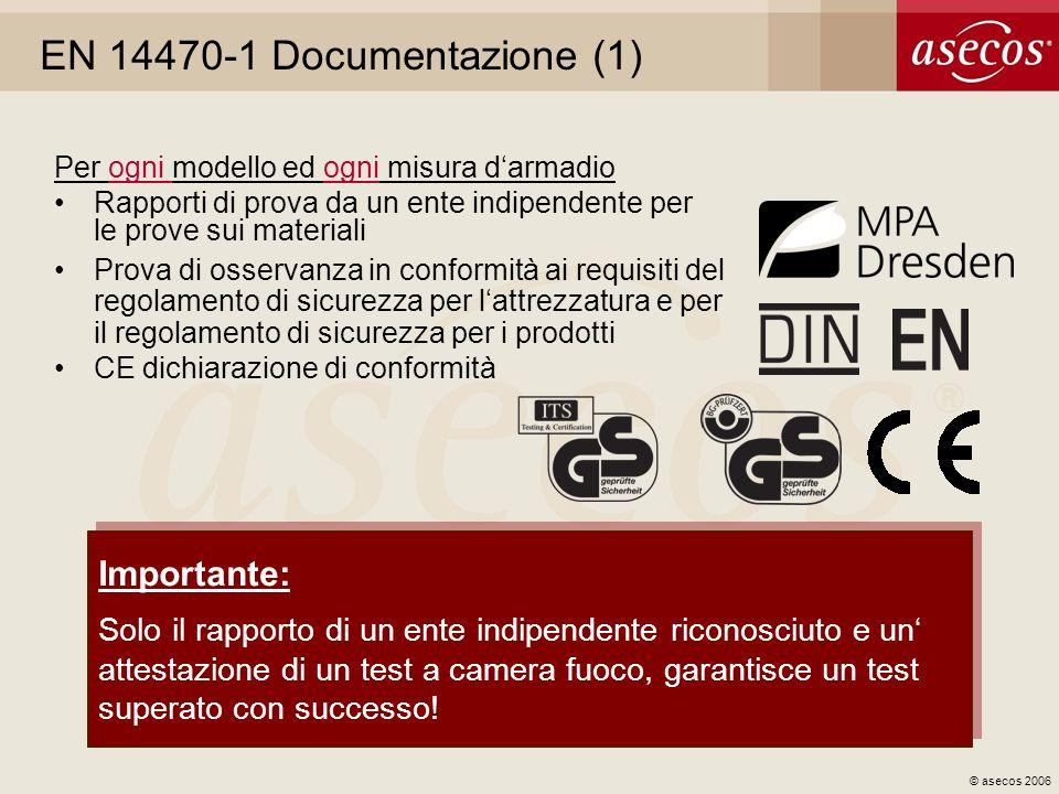 © asecos 2006 EN 14470-1 Documentazione (1) Per ogni modello ed ogni misura darmadio Rapporti di prova da un ente indipendente per le prove sui materi
