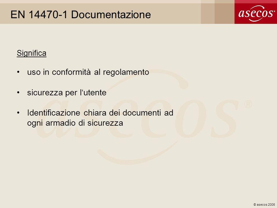 © asecos 2006 EN 14470-1 Documentazione Significa uso in conformità al regolamento sicurezza per lutente Identificazione chiara dei documenti ad ogni