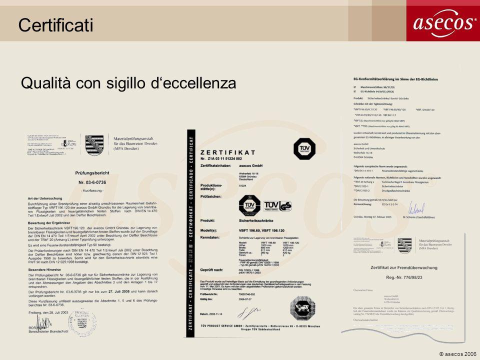 © asecos 2006 Certificati Qualità con sigillo deccellenza