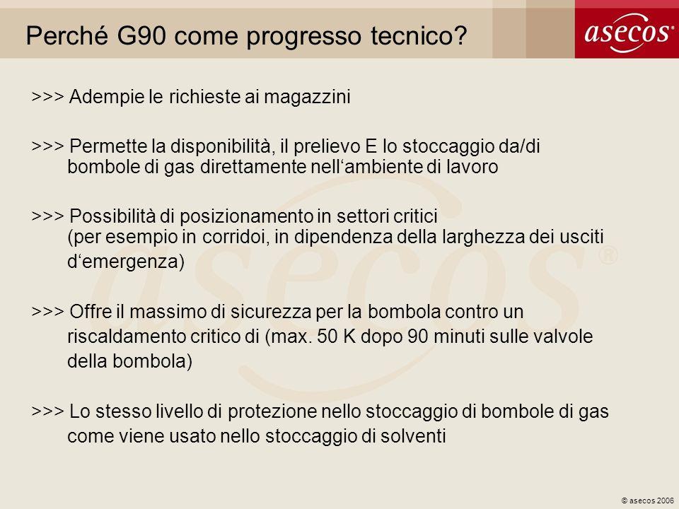© asecos 2006 Perché G90 come progresso tecnico? >>> Adempie le richieste ai magazzini >>> Permette la disponibilità, il prelievo E lo stoccaggio da/d