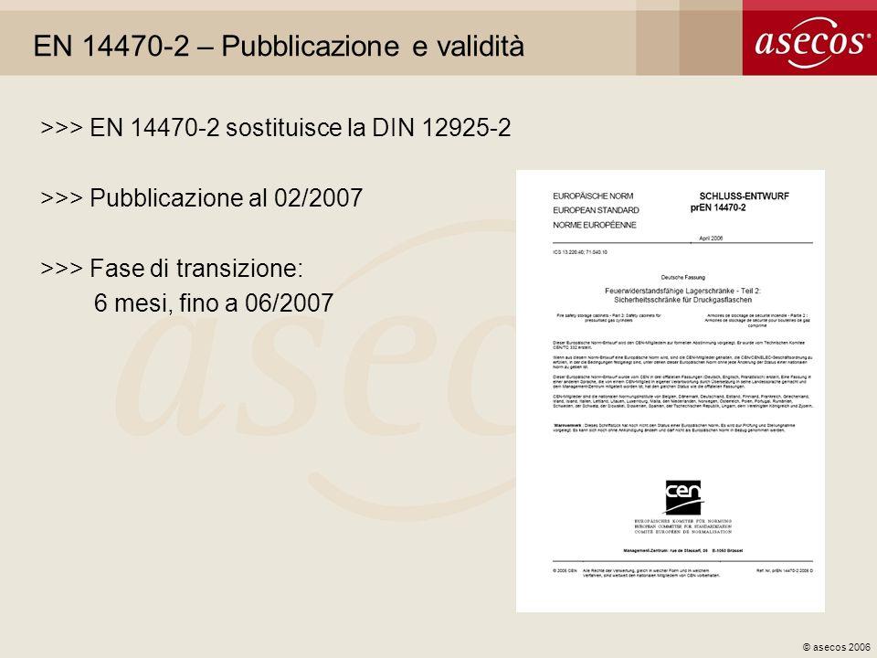 © asecos 2006 EN 14470-2 – Pubblicazione e validità >>> EN 14470-2 sostituisce la DIN 12925-2 >>> Pubblicazione al 02/2007 >>> Fase di transizione: 6
