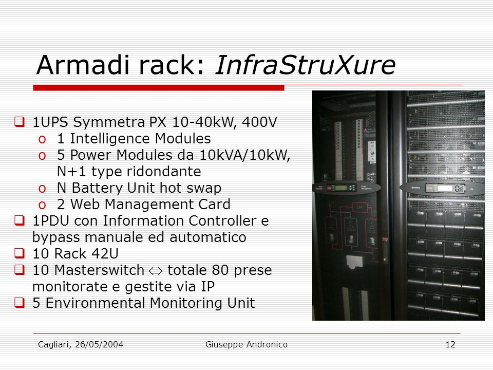 Cagliari, 26/05/2004Giuseppe Andronico12 Armadi rack: InfraStruXure 1UPS Symmetra PX 10-40kW, 400V o1 Intelligence Modules o5 Power Modules da 10kVA/10kW, N+1 type ridondante oN Battery Unit hot swap o2 Web Management Card 1PDU con Information Controller e bypass manuale ed automatico 10 Rack 42U 10 Masterswitch totale 80 prese monitorate e gestite via IP 5 Environmental Monitoring Unit