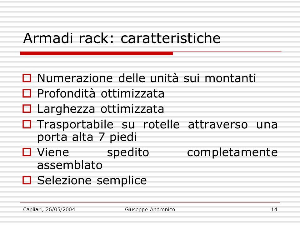 Cagliari, 26/05/2004Giuseppe Andronico14 Armadi rack: caratteristiche Numerazione delle unità sui montanti Profondità ottimizzata Larghezza ottimizzata Trasportabile su rotelle attraverso una porta alta 7 piedi Viene spedito completamente assemblato Selezione semplice